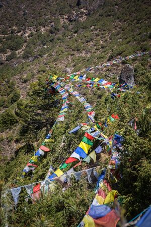orison: Praying flags on the way to the Everest Base Camp
