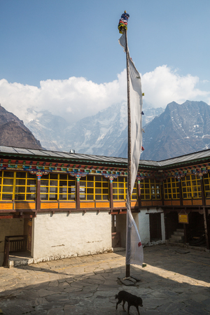 orison: Patio of the Tengboche monastery Stock Photo