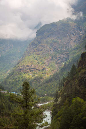 tibetan house: Himalayan village on the track to the Everest base camp. Stock Photo