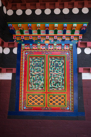 orison: A window in the Tengboche temple Stock Photo