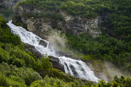 The majestic waterfall in Norway Jotunheimen National Park