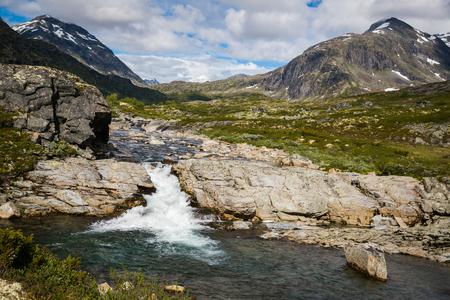 The majestic waterfall in Norway Jotunheimen National Park