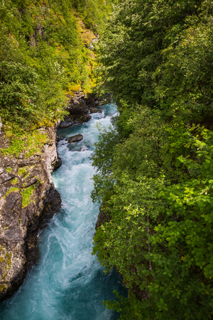 The majestic river in Norway Jotunheimen National Park Stock Photo