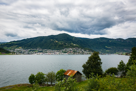sognefjord: Panoramma of Sognefjord in the summer Stock Photo