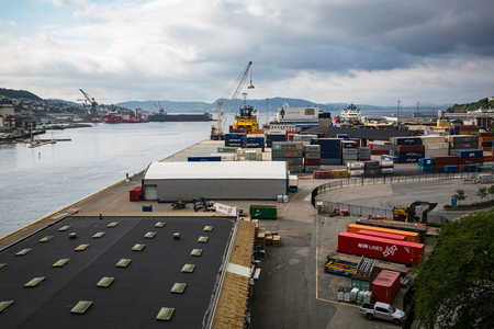 seafronts: BERGEN, NORWAY-JULY 27: Cargo port 27, 2016 in Bergen, Norway. Cargo port in Bergen. Editorial