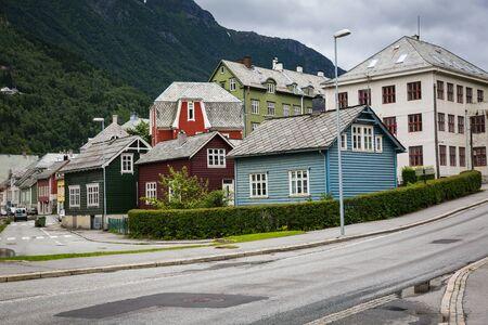 ODDA, NORWAY-JULY 17: Streets of Odda 17, 2016 in Odda, Norway. The streets of small Norwegian city Odda