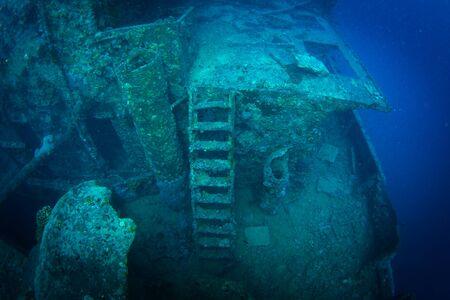 sunken boat: British military transport ship sunk during World War II Stock Photo