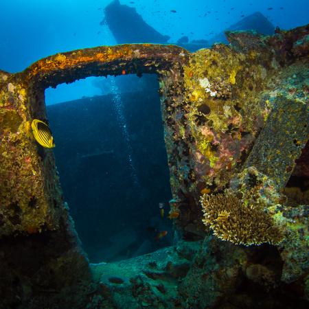 British military transport ship sunk during World War II Stock Photo