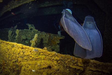 Diver on British military transport ship sunk during World War II