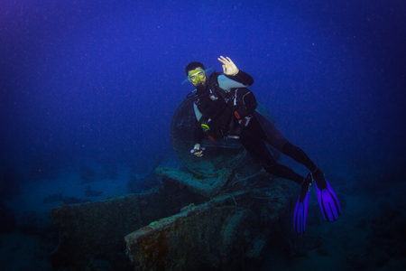 Diver on British military transport ship sunk during World War II