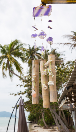 bounty: Wind chime on a bounty tropical island Foto de archivo