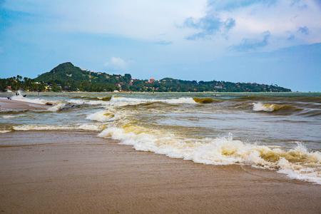 Foam wave at Lamai Beach in Koh Samui Stock Photo
