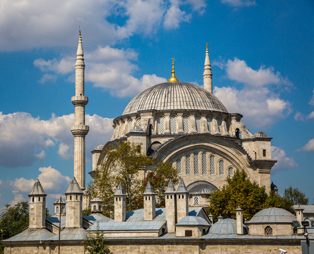 Turkish Mosque in Istanbul at spring Stock Photo