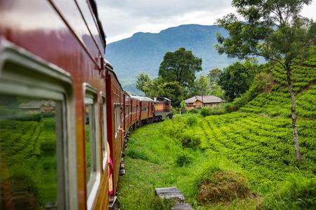 NUWARA ELIYA, SRI LANKA-APRIL 12: Old train on April 12, 2018 in Nuwara Eliya, Sri Lanka. Train on the tea plantations