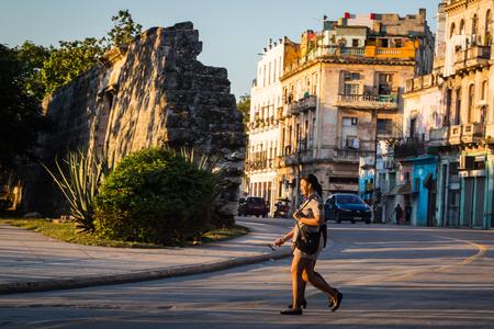 HABANA, CUBA-JANUARY 12: People in the city street on January 12, 2018 in Habana, Cuba. People in the city street
