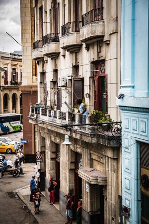 HABANA, CUBA-JANUARY 13: City street on January 13, 2018 in Habana, Cuba. Street view of Habana