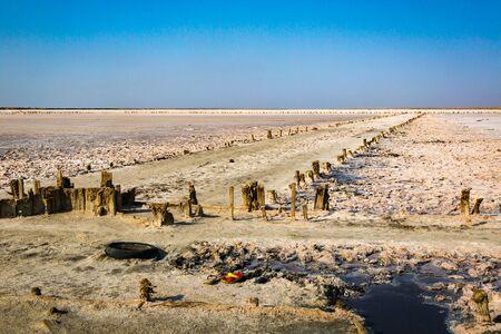 Pink salt lake in southern Ukraine