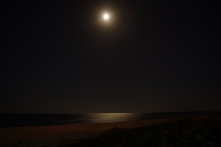 Tunisia  The Mediterranean sea  A full moon  Moon path