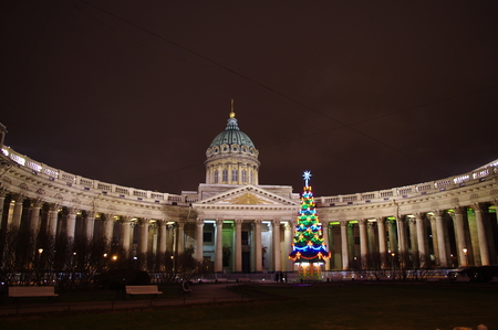 Kazan Cathedral in New Years Eve Stock Photo