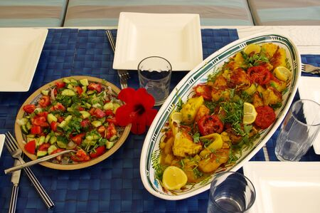 vegetable stew and salad