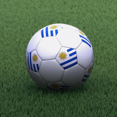 bandera de uruguay: f�tbol de la marca con la bandera de Uruguay en la hierba verde Foto de archivo