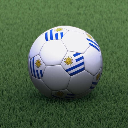 branded: football branded with the Uruguay flag on green grass Stock Photo