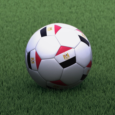 egypt flag: football branded with the Egypt flag on green grass