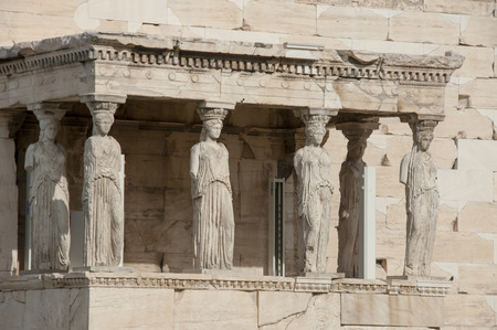 caryatids: The Caryatids, which are columns or pillars taking the shape of women, located in the Acropolis in the city of Athens, Greece