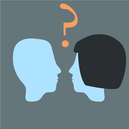 Vecteur tête relation. Homme et femme