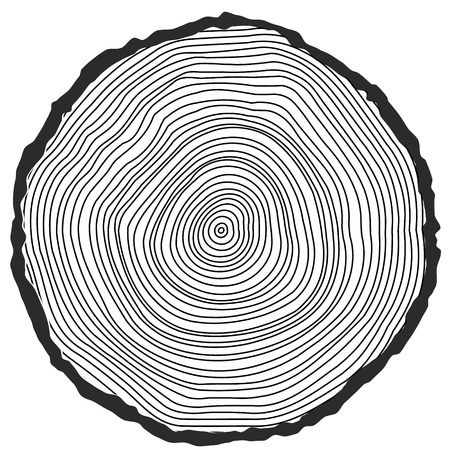 Vector conceptual background with tree-rings. Tree cut Stump Snag.