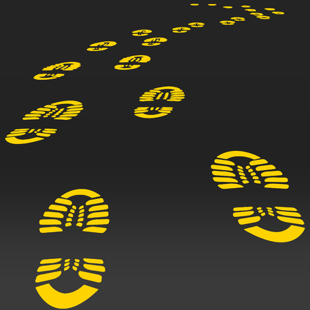 walk away: Footstep vector. Road Way perspective Yellow footsteps.