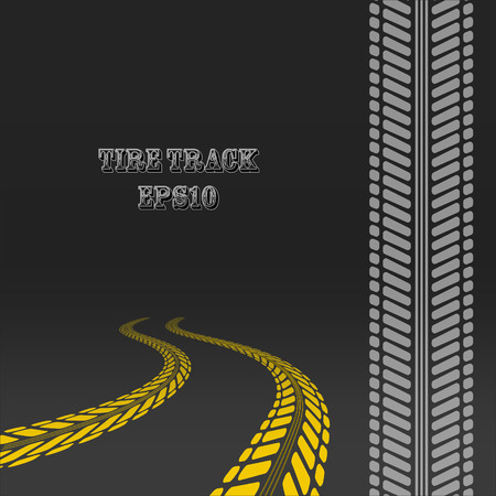 tire: Tire track. Tire track with perspective and template for tire brush. Illustration