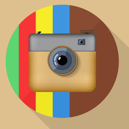 Hipster colorful realistic photo camera icon with shadow. Vector