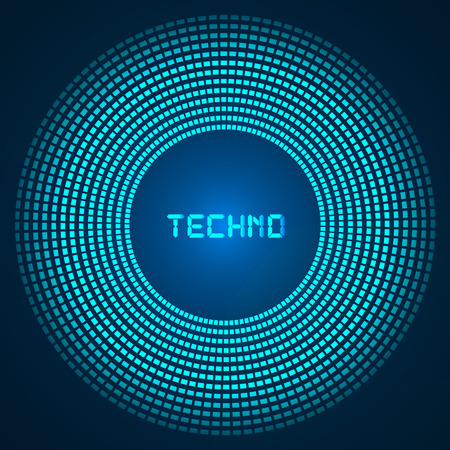 blue abstract background - circles of glowing pixels, concentric circles vector illustration image