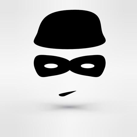 Zwart pictogram dief. Afbeelding Vector illustratie