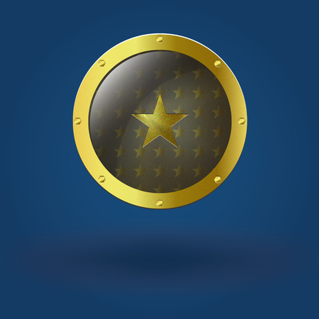 gold star: Vector illustration of gold seal. With the star placed in the center. Illustration