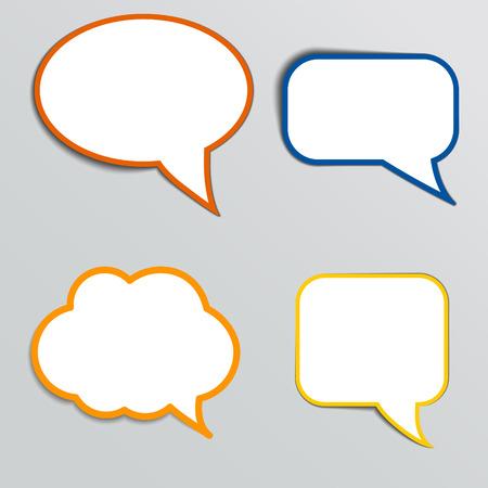 Stickers in form of speech bubbles. Vector illustration. Illustration
