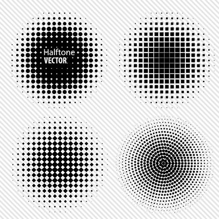 Set Black Abstract Halftone Kör Logo, vektoros illusztráció Illusztráció