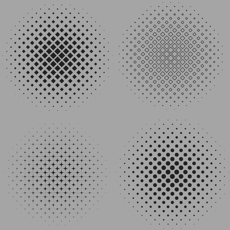 Four vector illustration of a dotted halftone backgrounds isolated on gray