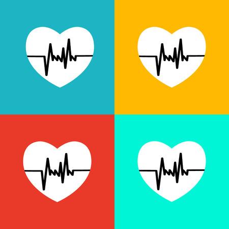 beat: Flat heart beat icon Illustration