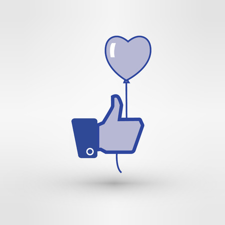 blue button: Hand holding heart baloon icon. Thumb up. vector illustration image