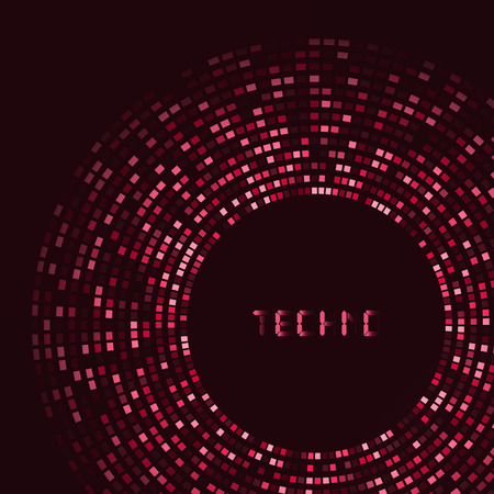 laser lights: Red technology round  for your logo template. Can be used for business presentation.