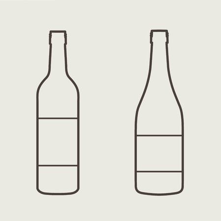 botella de licor: set de vino botella signo eps 10 ilustraci�n vectorial