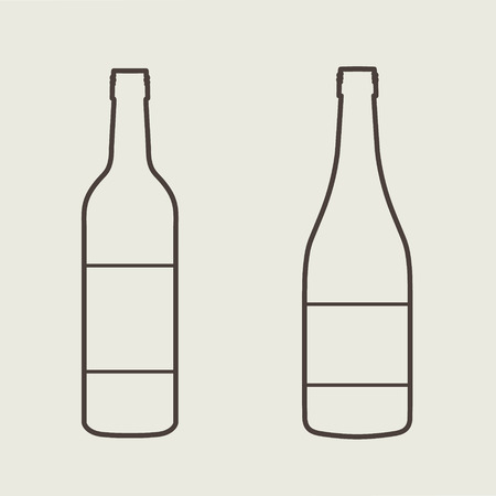 white wine: wine bottle sign set eps 10 vector illustration