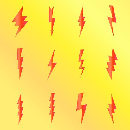 Villám lapos ikonok meg eps 10 vektoros illusztráció