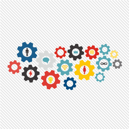 marketing research: Business mechanism concept web technology and social network theme. Abstract background with connected gears and icons for strategy, service, analytics, research, seo, digital marketing, communicate concepts. Vector infographic illustration