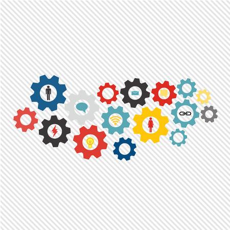 web technology: Meccanismo d'affari concetto di tecnologia web e il tema della rete sociale. Astratto con attrezzi collegati e le icone per la strategia, il servizio, di analisi, di ricerca, seo, marketing digitale, comunicare concetti. Vector infografica illustrazione