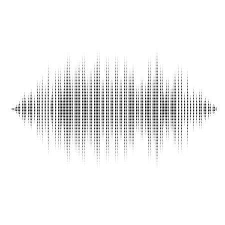 Waveform background isolated. Black and white halftone vector sound waves. You can use in club, radio, pub, party, DJ, concerts, recitals or the audio technology advertising background. Vettoriali