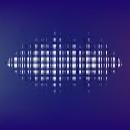 Waveform background isolated. Black and white halftone vector sound waves. You can use in club, radio, pub, party, DJ, concerts, recitals or the audio technology advertising background. Illustration