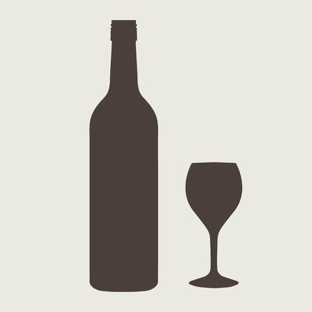 borosüveg jele készlet borospohár EPS 10 vektoros illusztráció Illusztráció